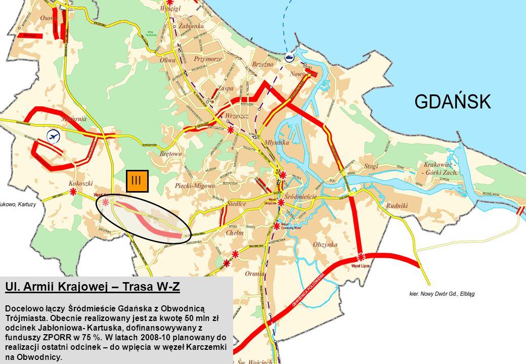 III Ul. Armii Krajowej – Trasa W-Z Docelowo łączy Śródmieście Gdańska z Obwodnicą Trójmiasta.
