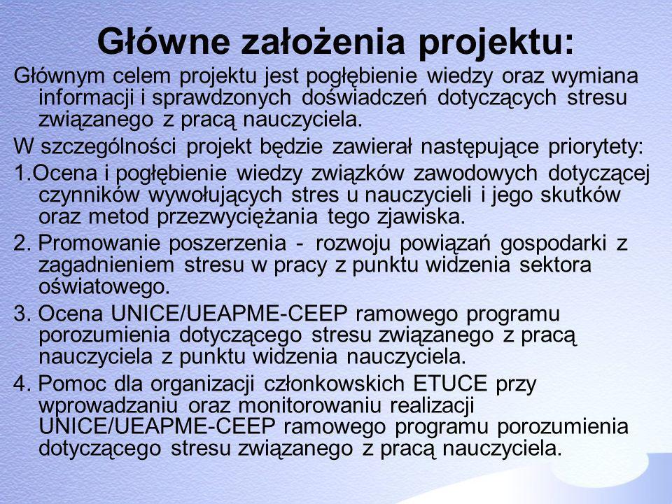 Główne założenia projektu: Głównym celem projektu jest pogłębienie wiedzy oraz wymiana informacji i sprawdzonych doświadczeń dotyczących stresu związa