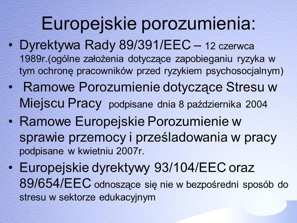 Europejskie porozumienia: Dyrektywa Rady 89/391/EEC – 12 czerwca 1989r.(ogólne założenia dotyczące zapobieganiu ryzyka w tym ochronę pracowników przed
