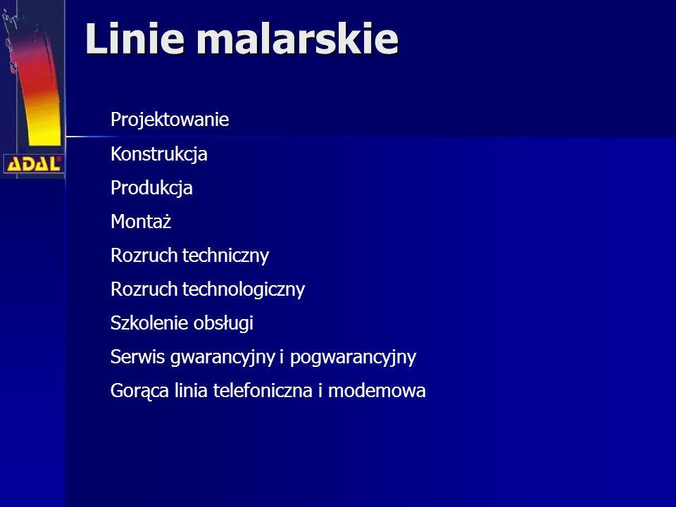 Linie malarskie Projektowanie Konstrukcja Produkcja Montaż Rozruch techniczny Rozruch technologiczny Szkolenie obsługi Serwis gwarancyjny i pogwarancy
