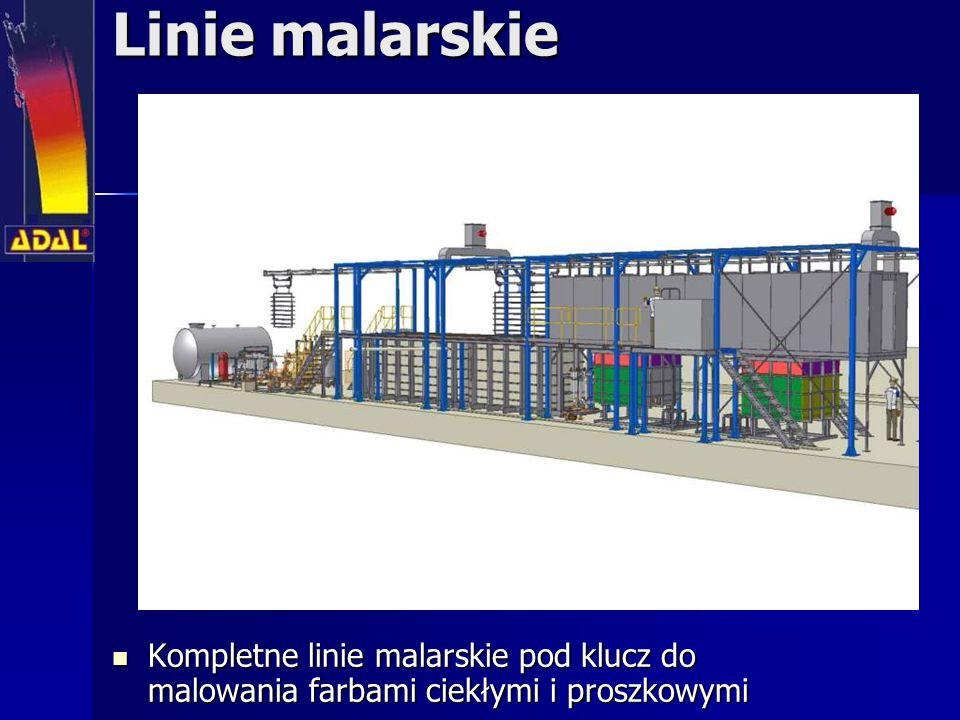 Linie malarskie Kompletne linie malarskie pod klucz do malowania farbami ciekłymi i proszkowymi Kompletne linie malarskie pod klucz do malowania farbami ciekłymi i proszkowymi