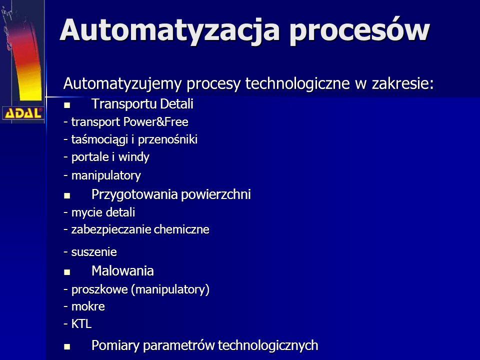Automatyzacja procesów Automatyzujemy procesy technologiczne w zakresie: Transportu Detali Transportu Detali - transport Power&Free - taśmociągi i przenośniki - portale i windy - manipulatory Przygotowania powierzchni Przygotowania powierzchni - mycie detali - zabezpieczanie chemiczne - suszenie Malowania Malowania - proszkowe (manipulatory) - mokre - KTL Pomiary parametrów technologicznych Pomiary parametrów technologicznych