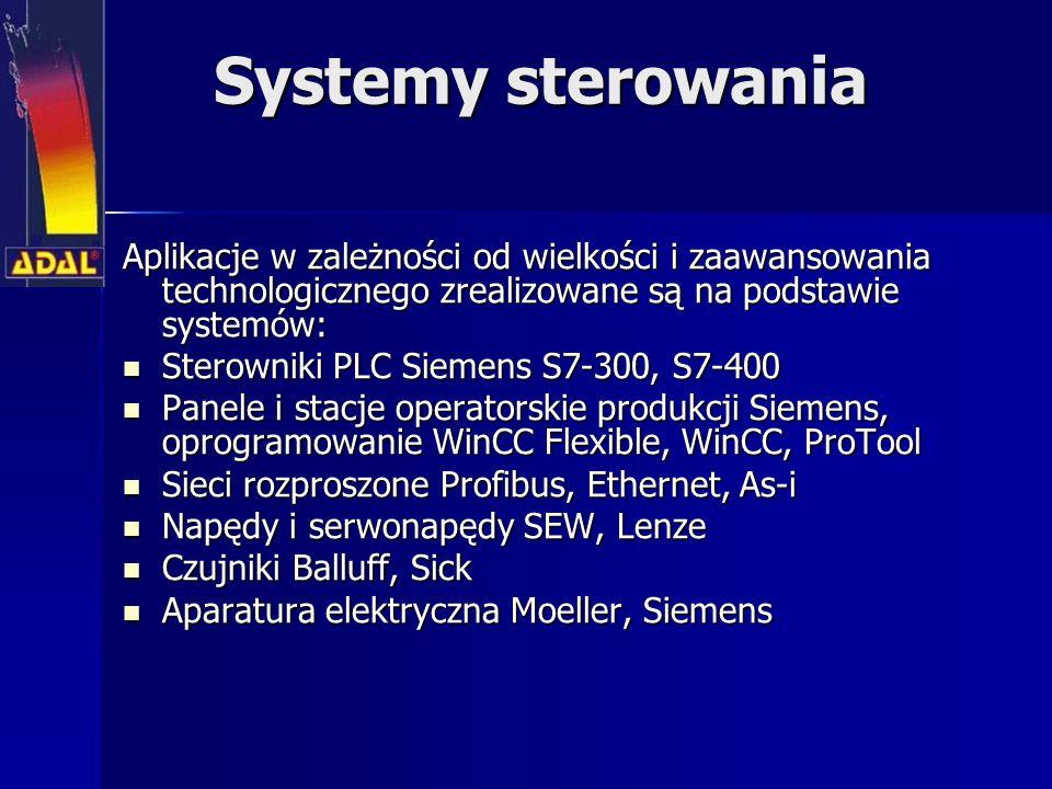 Systemy sterowania Aplikacje w zależności od wielkości i zaawansowania technologicznego zrealizowane są na podstawie systemów: Sterowniki PLC Siemens