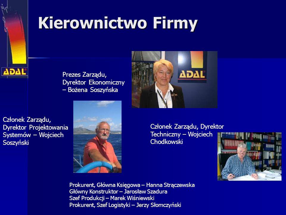 Kierownictwo Firmy Prezes Zarządu, Dyrektor Ekonomiczny – Bożena Soszyńska Prokurent, Główna Księgowa – Hanna Strączewska Główny Konstruktor – Jarosła