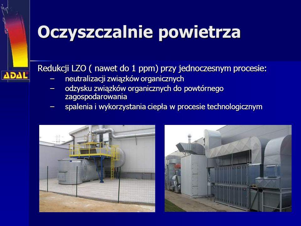 Oczyszczalnie powietrza Redukcji LZO ( nawet do 1 ppm) przy jednoczesnym procesie: Redukcji LZO ( nawet do 1 ppm) przy jednoczesnym procesie: –neutralizacji związków organicznych –odzysku związków organicznych do powtórnego zagospodarowania –spalenia i wykorzystania ciepła w procesie technologicznym