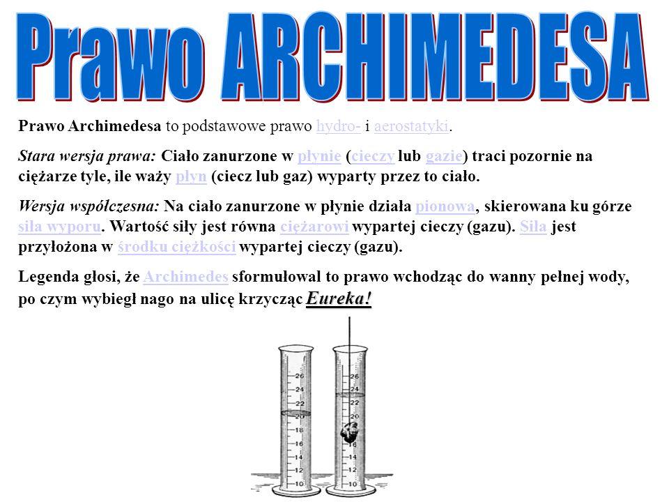 Prawo Archimedesa to podstawowe prawo hydro- i aerostatyki.hydro-aerostatyki Stara wersja prawa: Ciało zanurzone w płynie (cieczy lub gazie) traci poz
