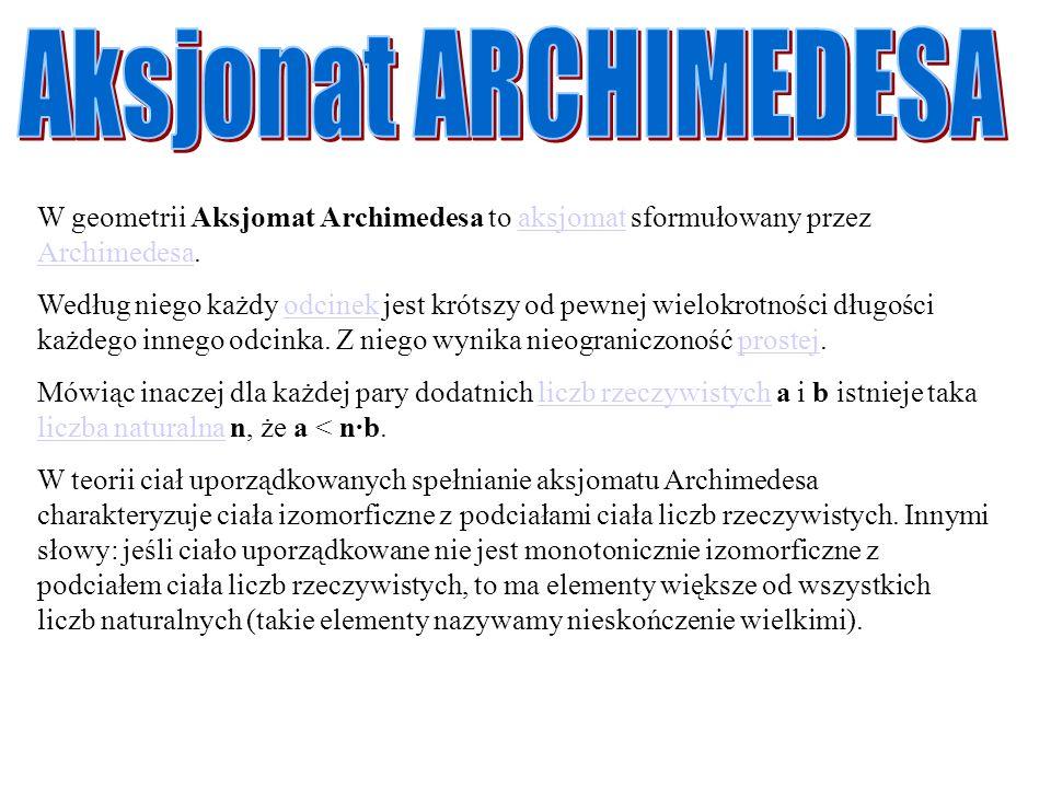 W geometrii Aksjomat Archimedesa to aksjomat sformułowany przez Archimedesa.aksjomat Archimedesa Według niego każdy odcinek jest krótszy od pewnej wie
