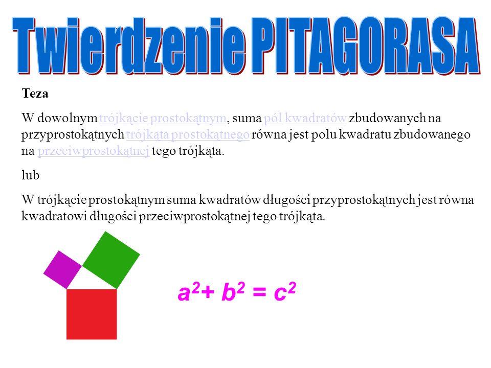 Teza W dowolnym trójkącie prostokątnym, suma pól kwadratów zbudowanych na przyprostokątnych trójkąta prostokątnego równa jest polu kwadratu zbudowaneg