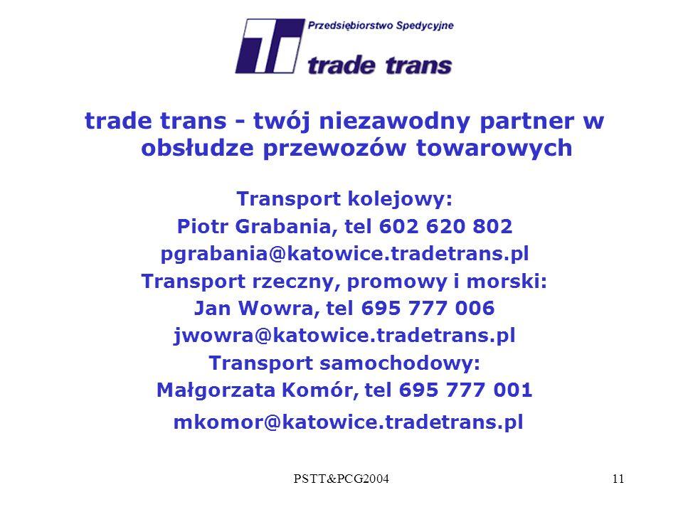 PSTT&PCG200411 trade trans - twój niezawodny partner w obsłudze przewozów towarowych Transport kolejowy: Piotr Grabania, tel 602 620 802 pgrabania@kat