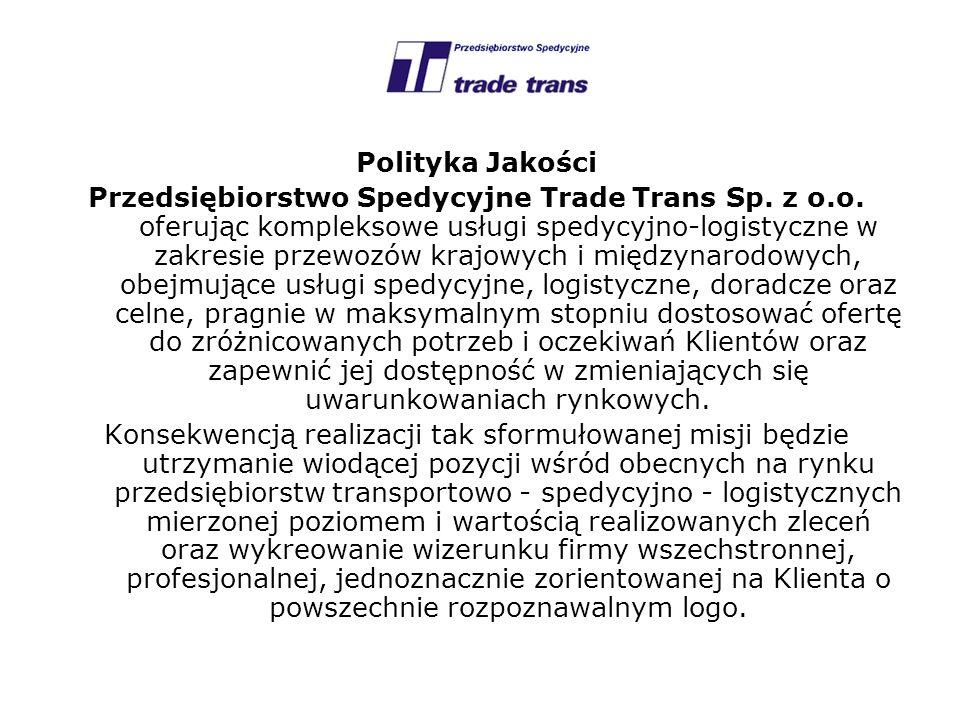 Polityka Jakości Przedsiębiorstwo Spedycyjne Trade Trans Sp. z o.o. oferując kompleksowe usługi spedycyjno-logistyczne w zakresie przewozów krajowych