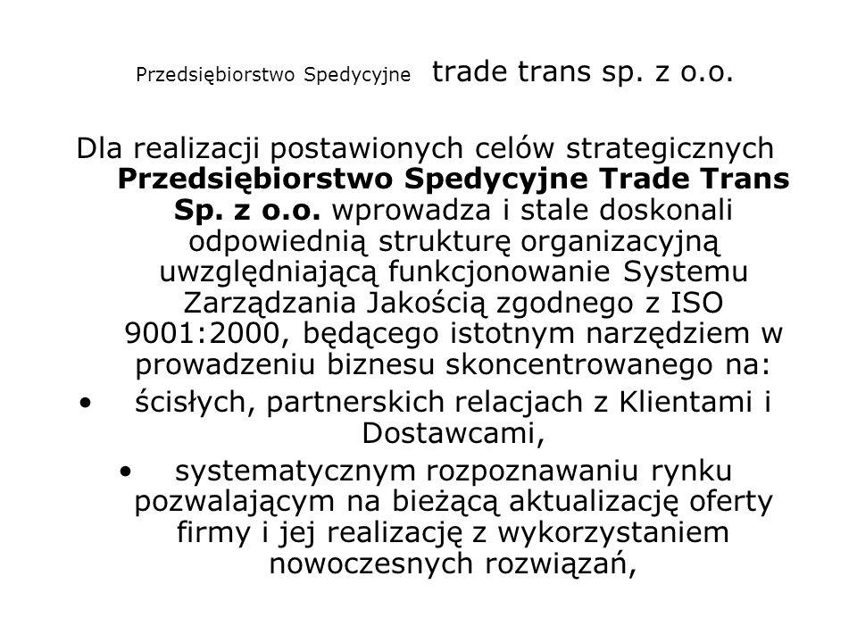 Przedsiębiorstwo Spedycyjne trade trans sp. z o.o. Dla realizacji postawionych celów strategicznych Przedsiębiorstwo Spedycyjne Trade Trans Sp. z o.o.