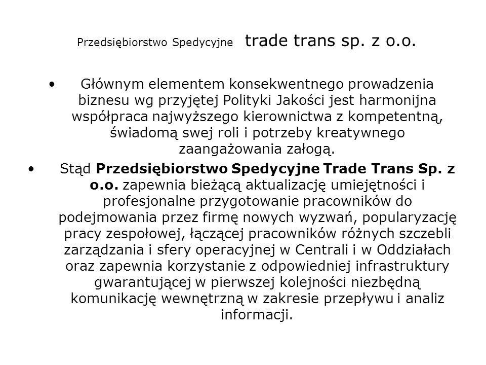 Przedsiębiorstwo Spedycyjne trade trans sp. z o.o. Głównym elementem konsekwentnego prowadzenia biznesu wg przyjętej Polityki Jakości jest harmonijna