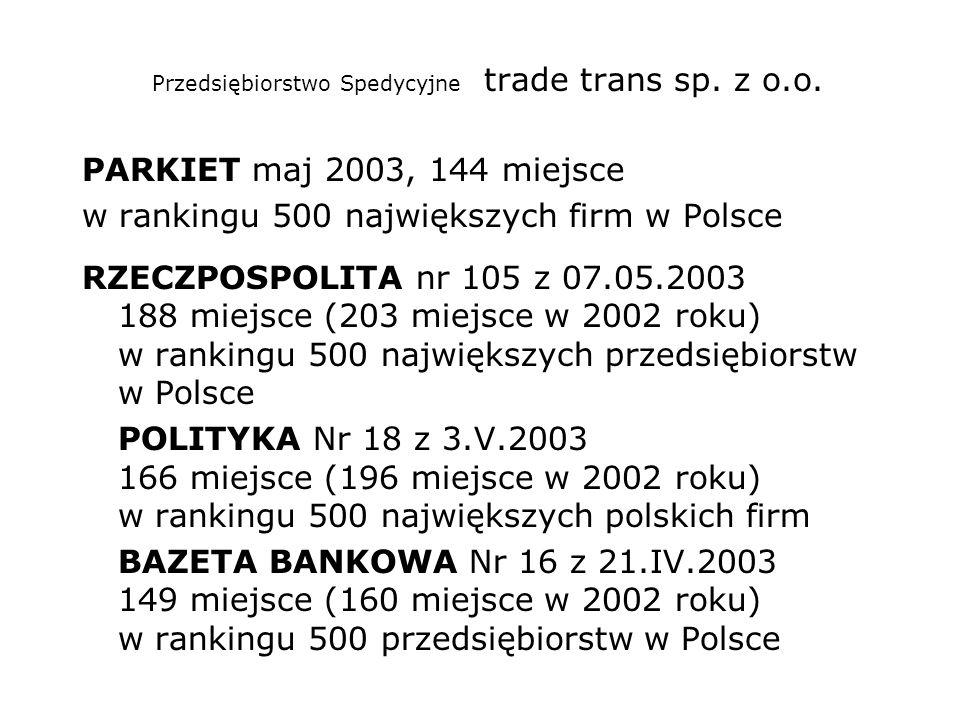 Przedsiębiorstwo Spedycyjne trade trans sp. z o.o. PARKIET maj 2003, 144 miejsce w rankingu 500 największych firm w Polsce RZECZPOSPOLITA nr 105 z 07.