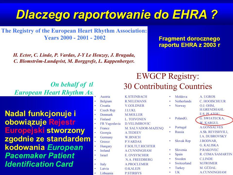 Dlaczego raportowanie do EHRA ? Nadal funkcjonuje i obowiązuje Rejestr Europejski stworzony zgodnie ze standardem kodowania European Pacemaker Patient