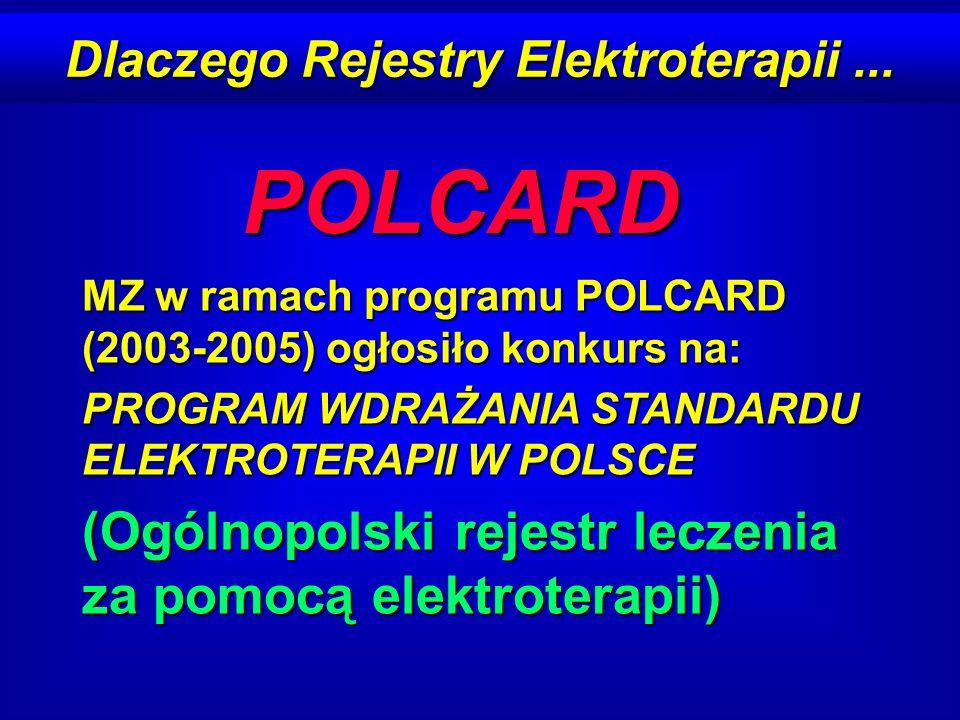Dlaczego Rejestry Elektroterapii... POLCARD MZ w ramach programu POLCARD (2003-2005) ogłosiło konkurs na: PROGRAM WDRAŻANIA STANDARDU ELEKTROTERAPII W