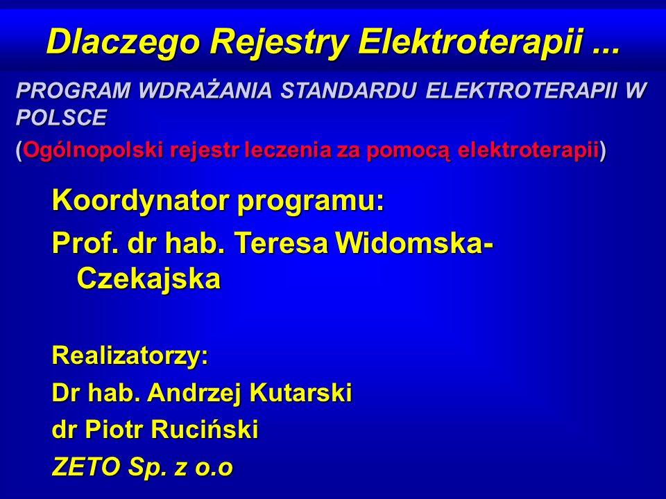 Dlaczego Rejestry Elektroterapii... Koordynator programu: Prof. dr hab. Teresa Widomska- Czekajska Realizatorzy: Dr hab. Andrzej Kutarski dr Piotr Ruc