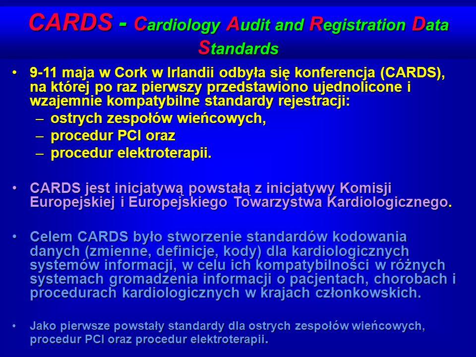 CARDS - C ardiology A udit and R egistration D ata S tandards 9-11 maja w Cork w Irlandii odbyła się konferencja (CARDS), na której po raz pierwszy pr