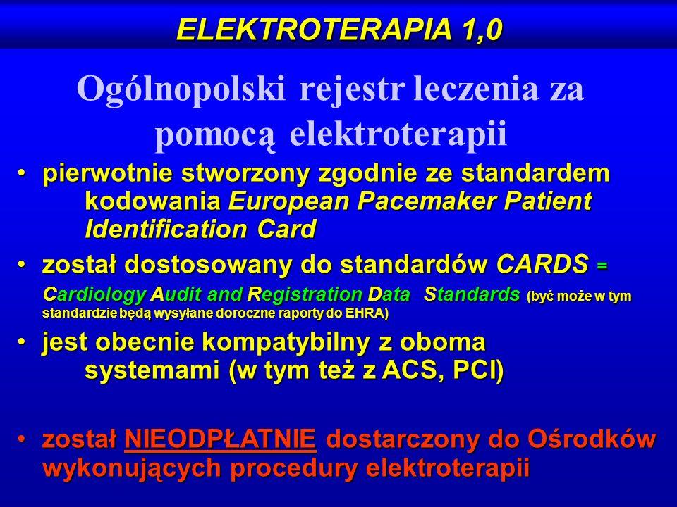ELEKTROTERAPIA 1,0 pierwotnie stworzony zgodnie ze standardem kodowania European Pacemaker Patient Identification Cardpierwotnie stworzony zgodnie ze