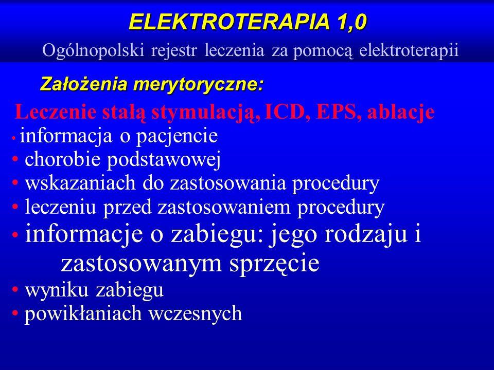 ELEKTROTERAPIA 1,0 ELEKTROTERAPIA 1,0 Ogólnopolski rejestr leczenia za pomocą elektroterapii Założenia merytoryczne: Leczenie stałą stymulacją, ICD, E