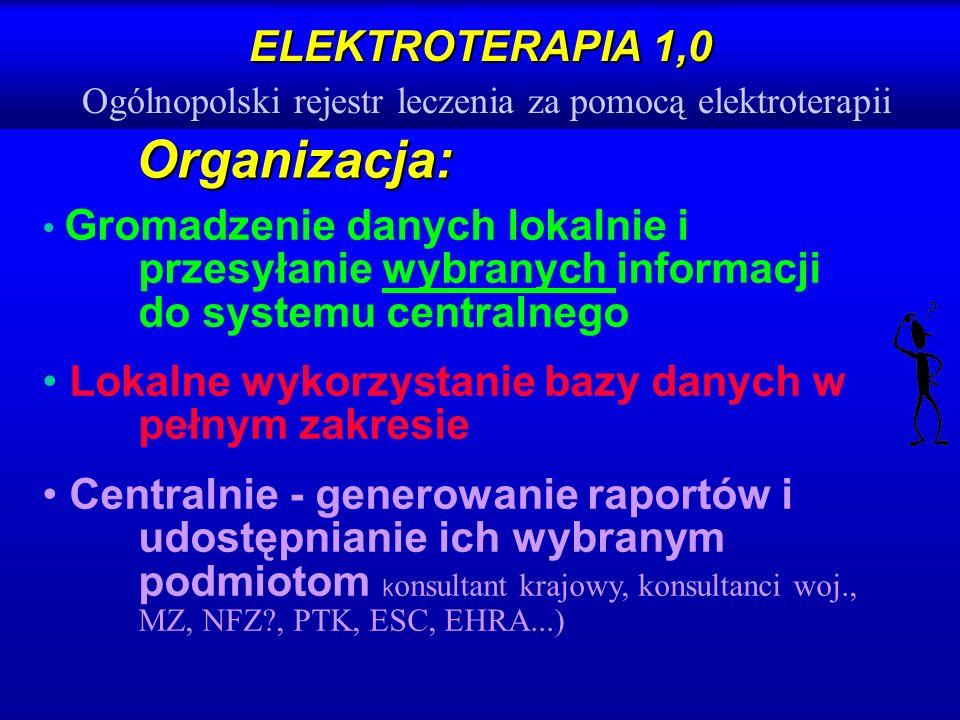 ELEKTROTERAPIA 1,0 ELEKTROTERAPIA 1,0 Ogólnopolski rejestr leczenia za pomocą elektroterapii Organizacja: Gromadzenie danych lokalnie i przesyłanie wy