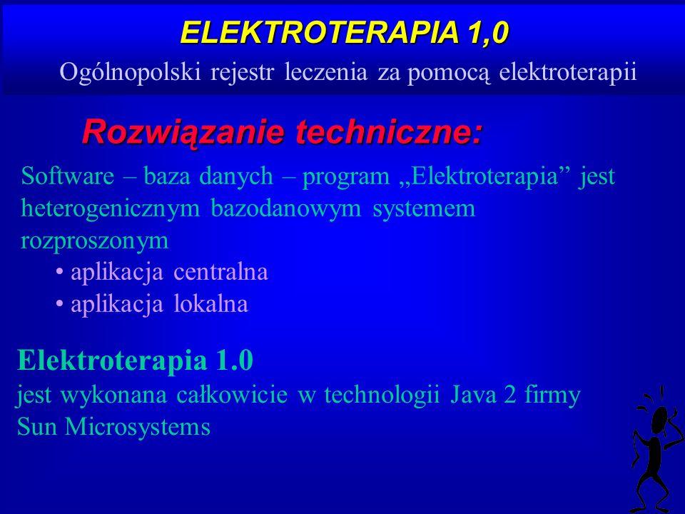 ELEKTROTERAPIA 1,0 ELEKTROTERAPIA 1,0 Ogólnopolski rejestr leczenia za pomocą elektroterapii Rozwiązanie techniczne: Software – baza danych – program