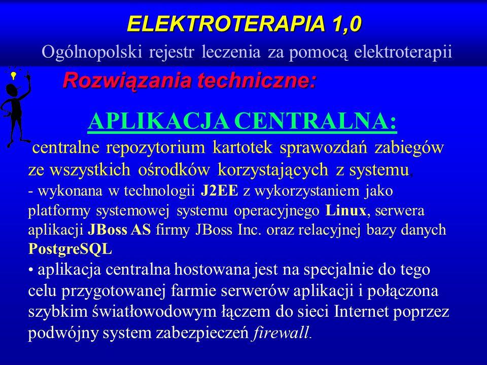 ELEKTROTERAPIA 1,0 ELEKTROTERAPIA 1,0 Ogólnopolski rejestr leczenia za pomocą elektroterapii Rozwiązania techniczne: APLIKACJA CENTRALNA: centralne re