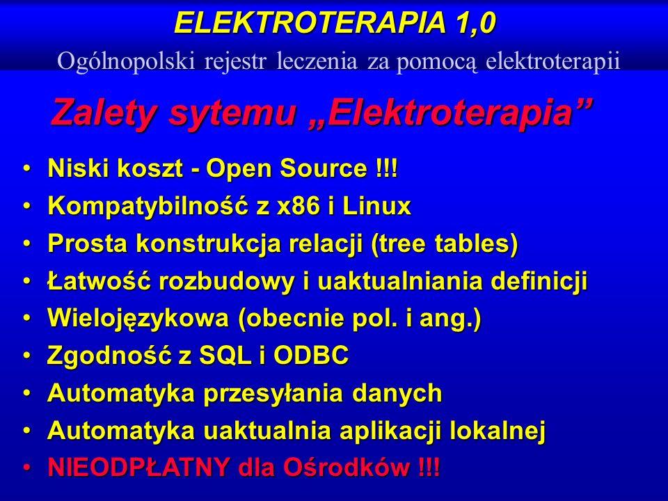 ELEKTROTERAPIA 1,0 ELEKTROTERAPIA 1,0 Ogólnopolski rejestr leczenia za pomocą elektroterapii Zalety sytemu Elektroterapia Niski koszt - Open Source !!