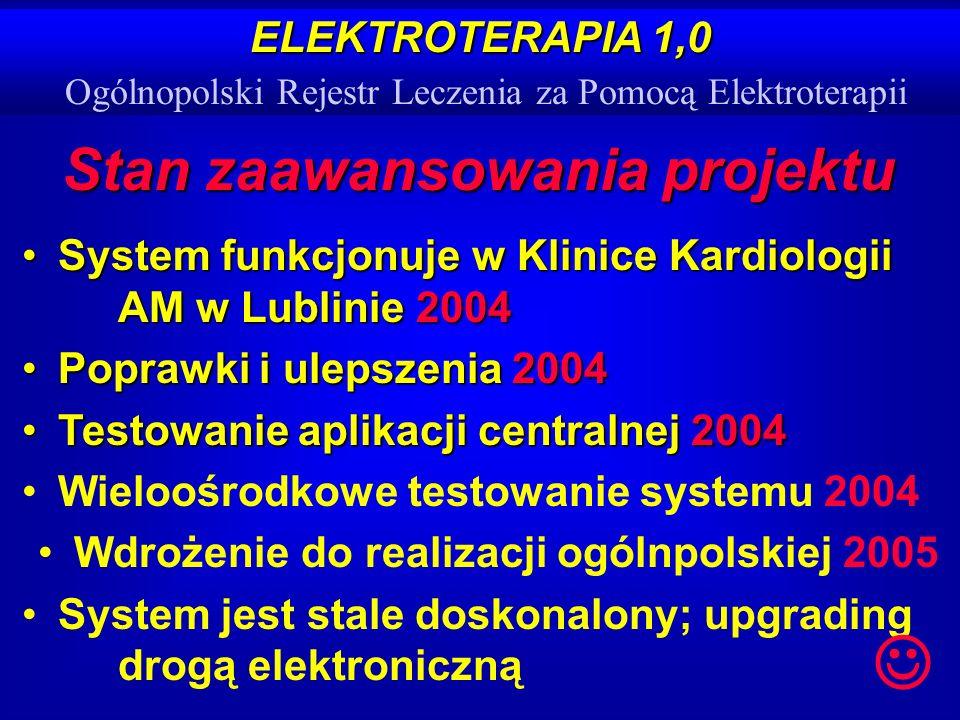 ELEKTROTERAPIA 1,0 ELEKTROTERAPIA 1,0 Ogólnopolski Rejestr Leczenia za Pomocą Elektroterapii Stan zaawansowania projektu System funkcjonuje w Klinice