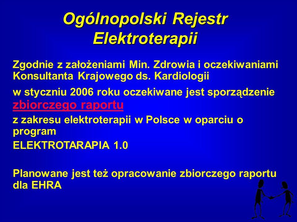 Ogólnopolski Rejestr Elektroterapii Zgodnie z założeniami Min. Zdrowia i oczekiwaniami Konsultanta Krajowego ds. Kardiologii w styczniu 2006 roku ocze