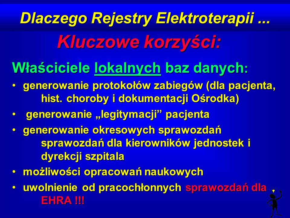 Dlaczego Rejestry Elektroterapii... Kluczowe korzyści: Właściciele lokalnych baz danych : generowanie protokołów zabiegów (dla pacjenta, hist. choroby