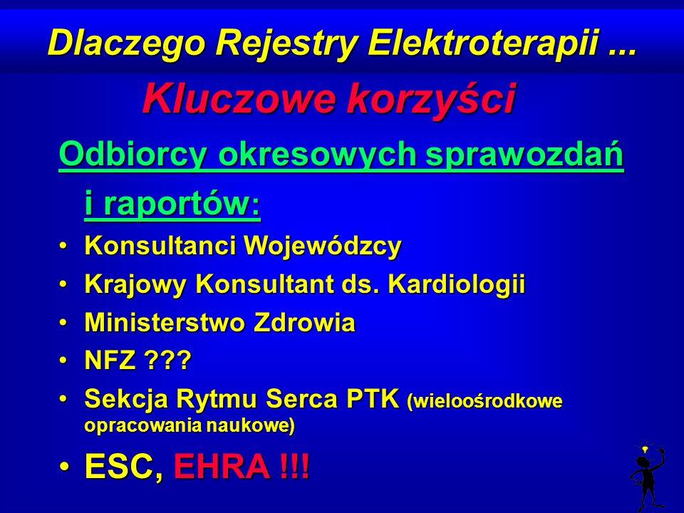 Dlaczego Rejestry Elektroterapii... Kluczowe korzyści Odbiorcy okresowych sprawozdań i raportów : Konsultanci WojewódzcyKonsultanci Wojewódzcy Krajowy