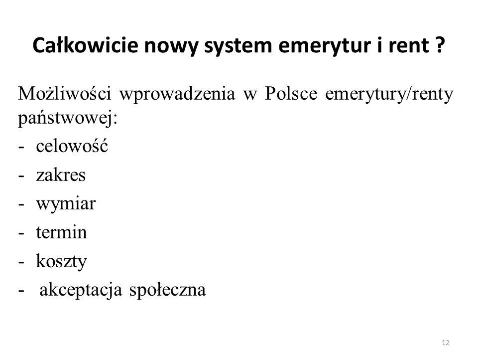 Całkowicie nowy system emerytur i rent ? Możliwości wprowadzenia w Polsce emerytury/renty państwowej: -celowość -zakres -wymiar -termin -koszty - akce