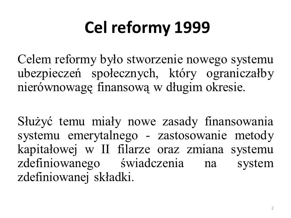 Cel reformy 1999 Celem reformy było stworzenie nowego systemu ubezpieczeń społecznych, który ograniczałby nierównowagę finansową w długim okresie.