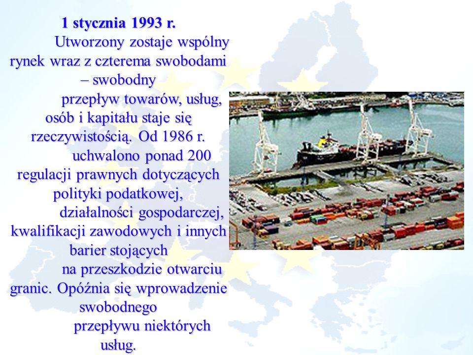 1 stycznia 1993 r. Utworzony zostaje wspólny rynek wraz z czterema swobodami – swobodny przepływ towarów, usług, osób i kapitału staje się rzeczywisto