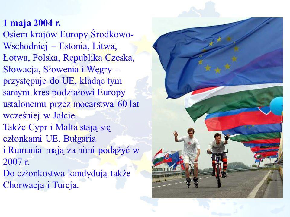 1 maja 2004 r. Osiem krajów Europy Środkowo- Wschodniej – Estonia, Litwa, Łotwa, Polska, Republika Czeska, Słowacja, Słowenia i Węgry – przystępuje do