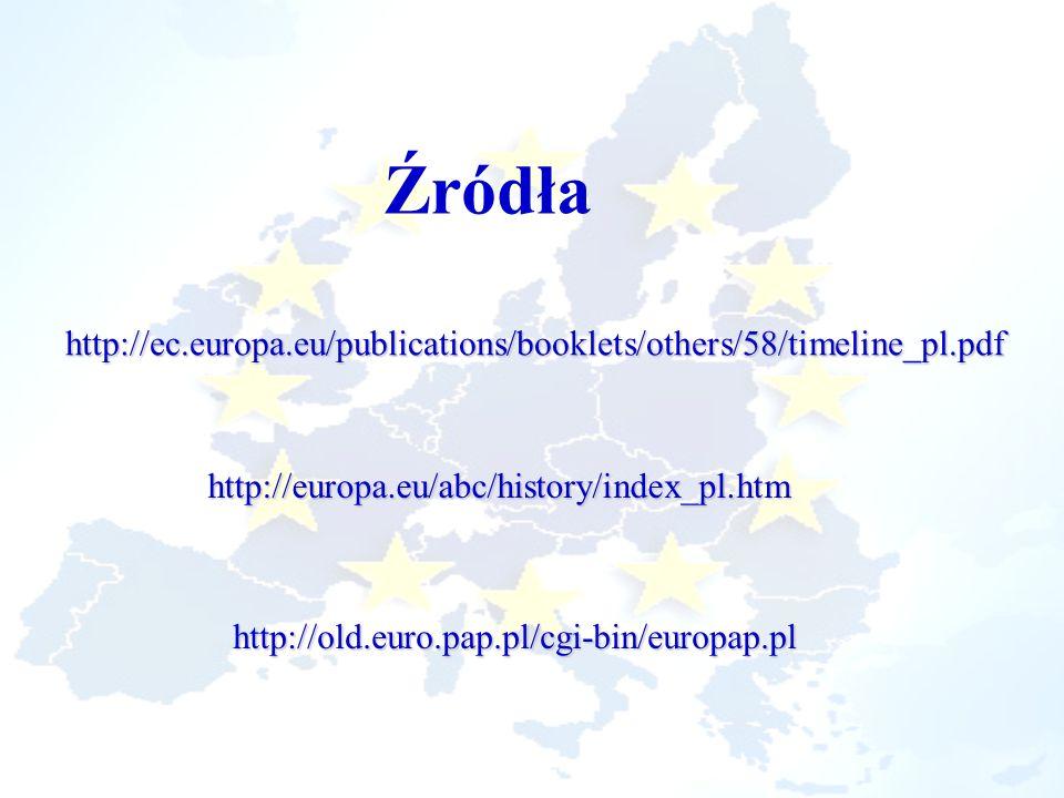 Źródła http://ec.europa.eu/publications/booklets/others/58/timeline_pl.pdf http://europa.eu/abc/history/index_pl.htm http://old.euro.pap.pl/cgi-bin/eu