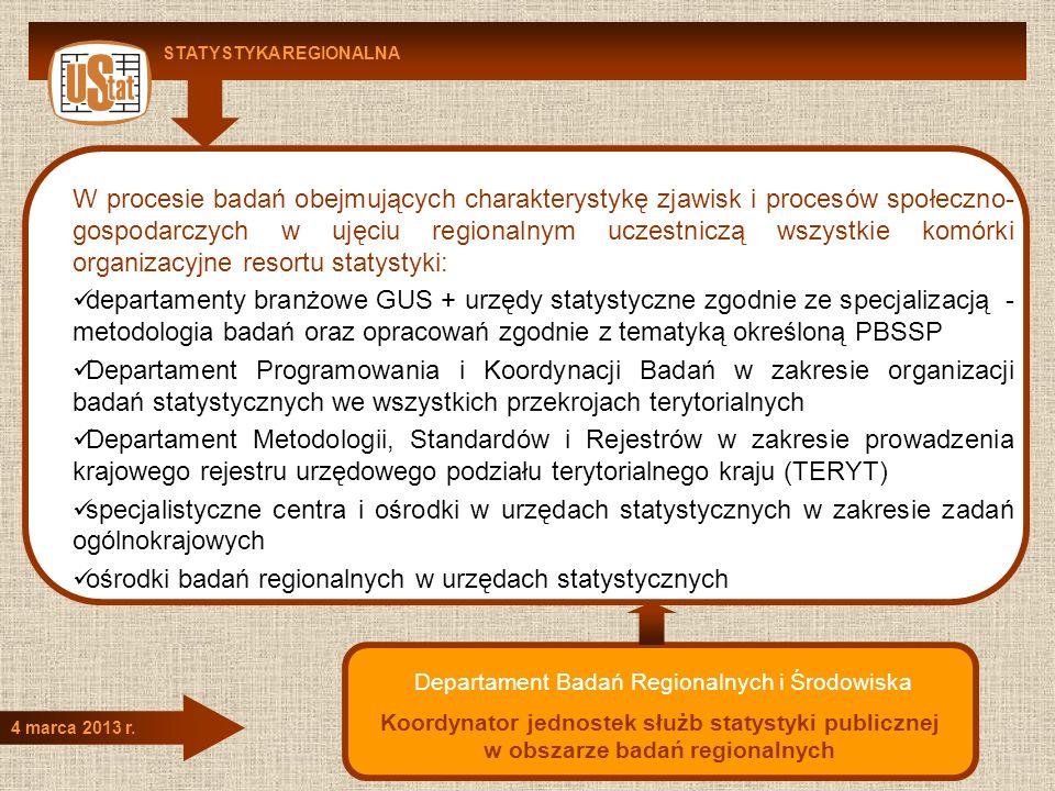 STATYSTYKA REGIONALNA 4 marca 2013 r. W procesie badań obejmujących charakterystykę zjawisk i procesów społeczno- gospodarczych w ujęciu regionalnym u