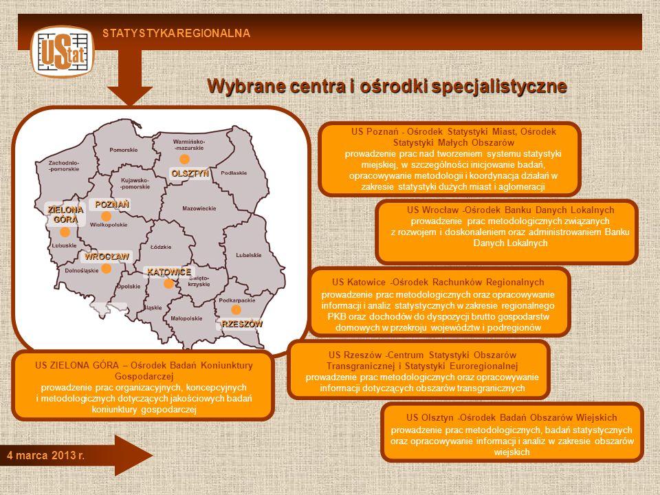 STATYSTYKA REGIONALNA 4 marca 2013 r. US Wrocław -Ośrodek Banku Danych Lokalnych prowadzenie prac metodologicznych związanych z rozwojem i doskonaleni