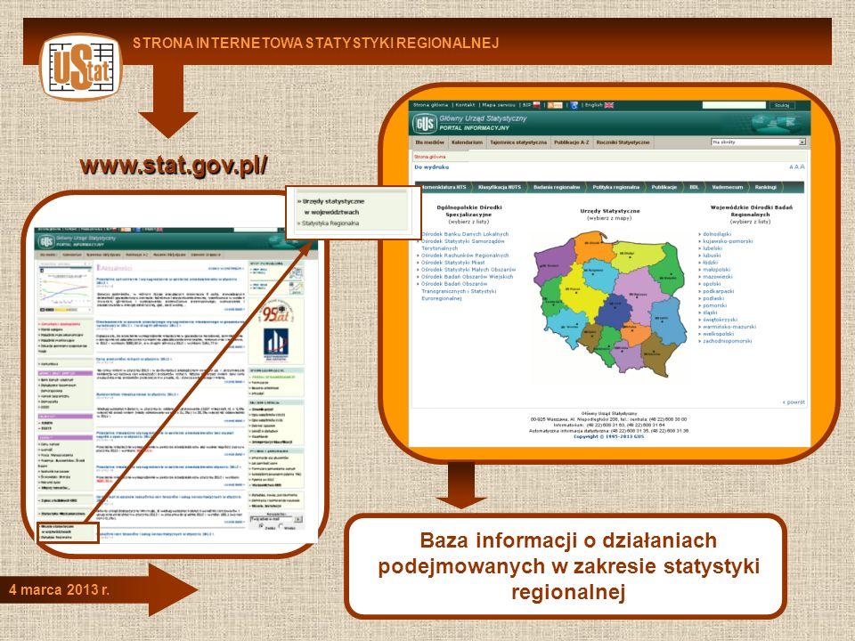 STRONA INTERNETOWA STATYSTYKI REGIONALNEJ 4 marca 2013 r. www.stat.gov.pl/ Baza informacji o działaniach podejmowanych w zakresie statystyki regionaln