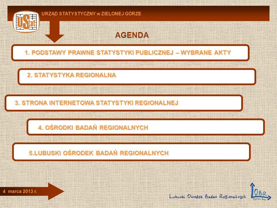 AGENDA URZĄD STATYSTYCZNY w ZIELONEJ GÓRZE 4 marca 2013 r. 1. PODSTAWY PRAWNE STATYSTYKI PUBLICZNEJ – WYBRANE AKTY 2. STATYSTYKA REGIONALNA 3. STRONA