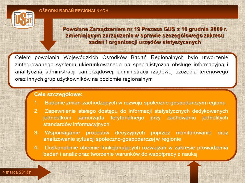 4 marca 2013 r. Celem powołania Wojewódzkich Ośrodków Badań Regionalnych było utworzenie zintegrowanego systemu ukierunkowanego na specjalistyczną obs