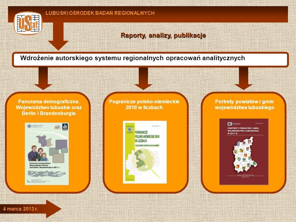 LUBUSKI OŚRODEK BADAŃ REGIONALNYCH 4 marca 2013 r. Raporty, analizy, publikacje Wdrożenie autorskiego systemu regionalnych opracowań analitycznych Pan