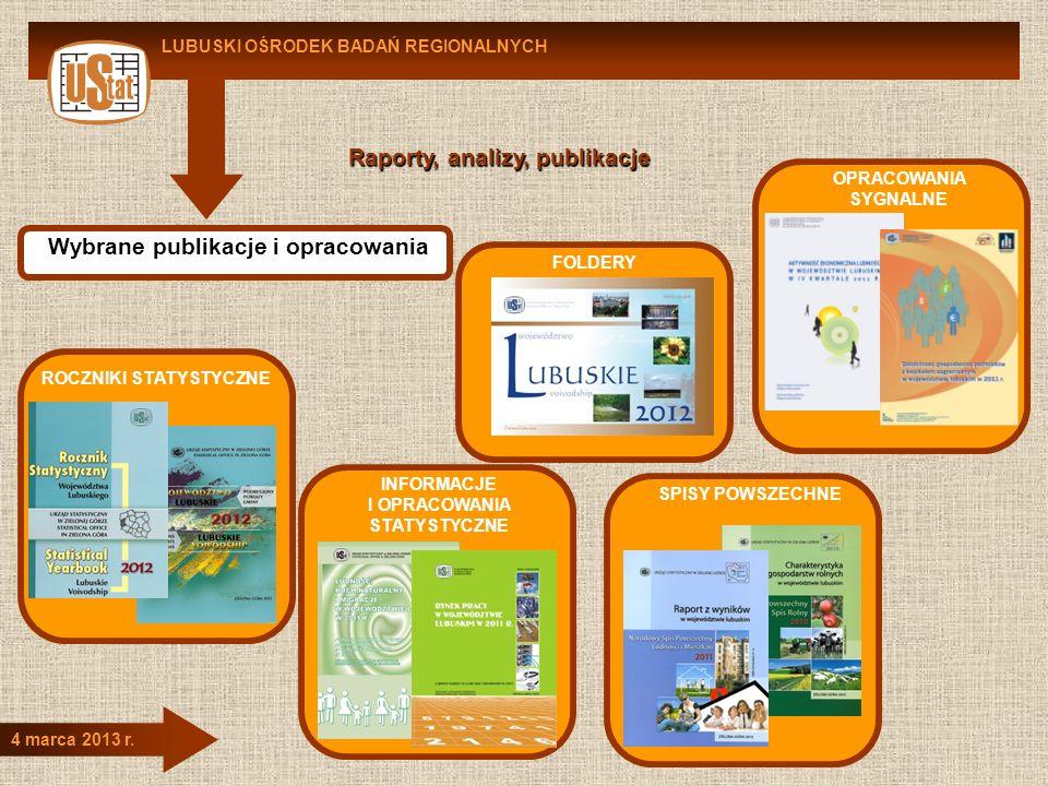 LUBUSKI OŚRODEK BADAŃ REGIONALNYCH 4 marca 2013 r. Raporty, analizy, publikacje Wybrane publikacje i opracowania ROCZNIKI STATYSTYCZNE INFORMACJE I OP