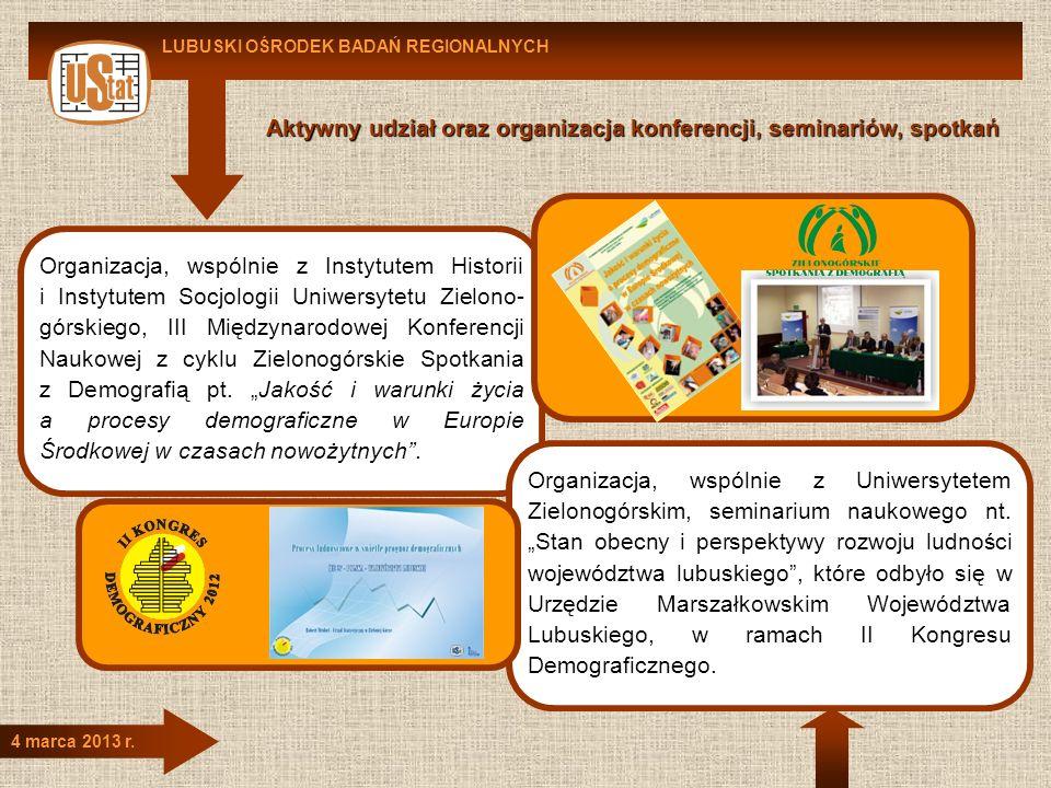 LUBUSKI OŚRODEK BADAŃ REGIONALNYCH 4 marca 2013 r. Aktywny udział oraz organizacja konferencji, seminariów, spotkań Organizacja, wspólnie z Instytutem