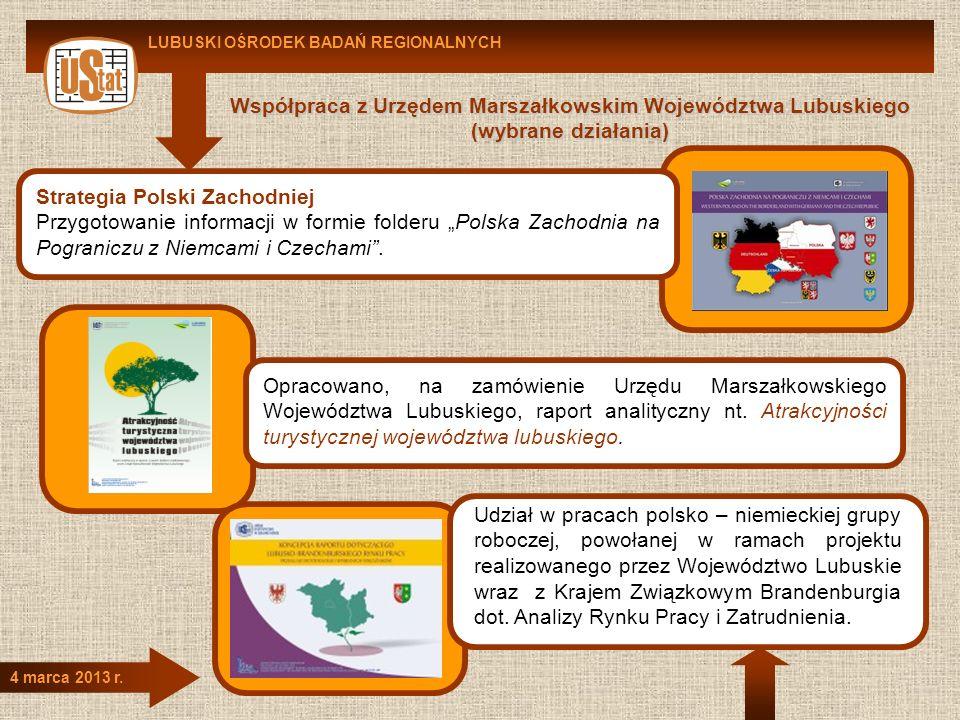LUBUSKI OŚRODEK BADAŃ REGIONALNYCH 4 marca 2013 r. Współpraca z Urzędem Marszałkowskim Województwa Lubuskiego (wybrane działania) Strategia Polski Zac