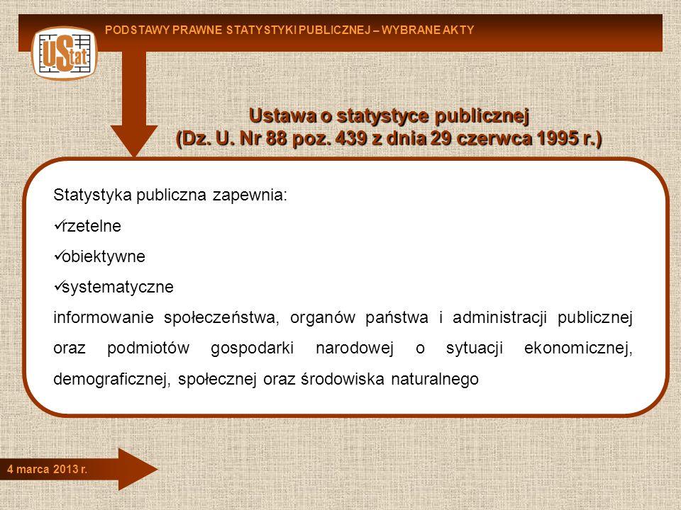 Ustawa o statystyce publicznej (Dz. U. Nr 88 poz. 439 z dnia 29 czerwca 1995 r.) PODSTAWY PRAWNE STATYSTYKI PUBLICZNEJ – WYBRANE AKTY 4 marca 2013 r.