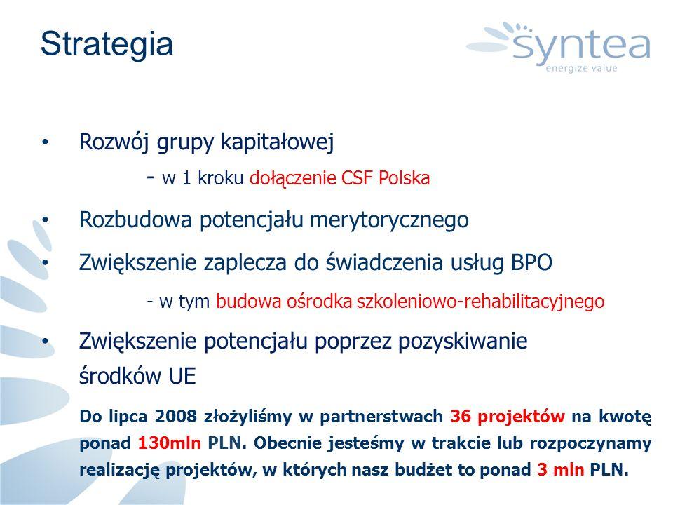 Strategia Rozwój grupy kapitałowej - w 1 kroku dołączenie CSF Polska Rozbudowa potencjału merytorycznego Zwiększenie zaplecza do świadczenia usług BPO