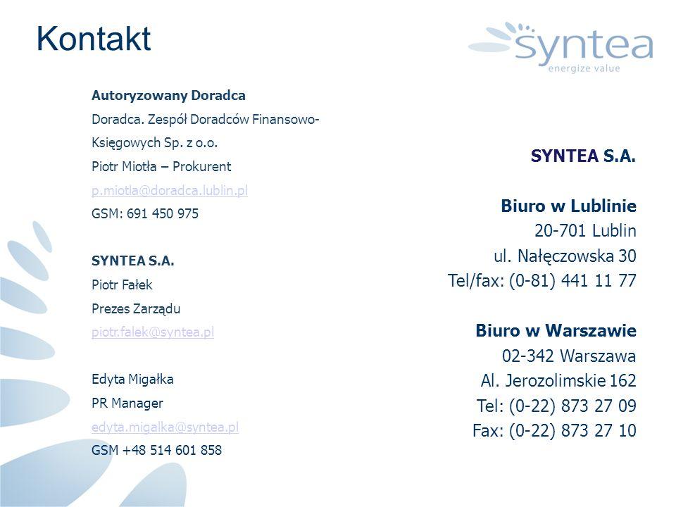 SYNTEA S.A. Biuro w Lublinie 20-701 Lublin ul. Nałęczowska 30 Tel/fax: (0-81) 441 11 77 Biuro w Warszawie 02-342 Warszawa Al. Jerozolimskie 162 Tel: (
