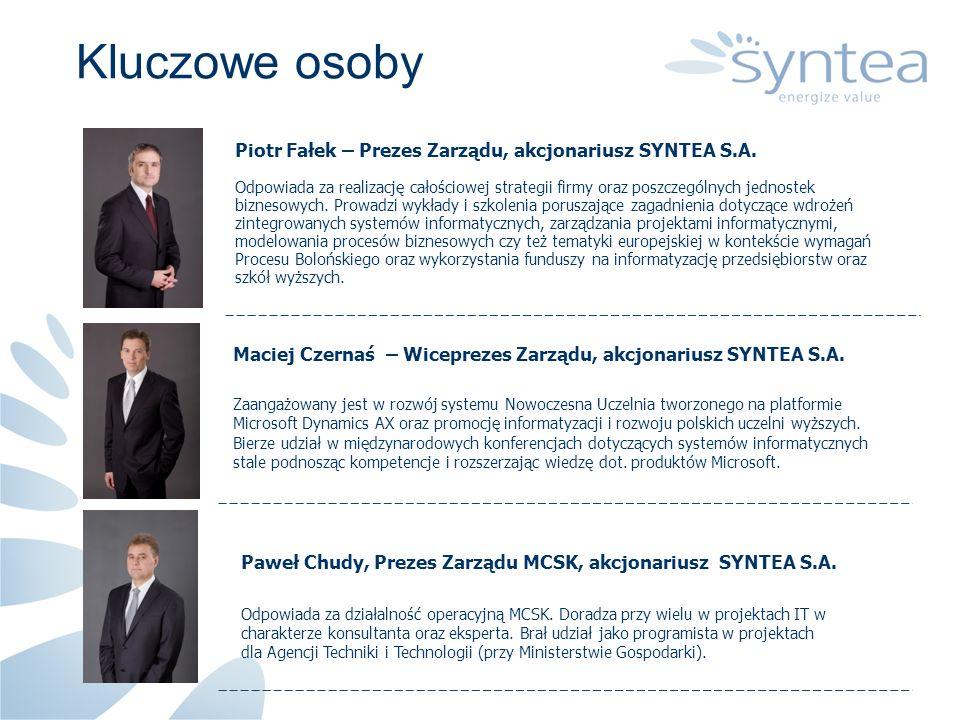 Kluczowe osoby Piotr Fałek – Prezes Zarządu, akcjonariusz SYNTEA S.A. Odpowiada za realizację całościowej strategii firmy oraz poszczególnych jednoste
