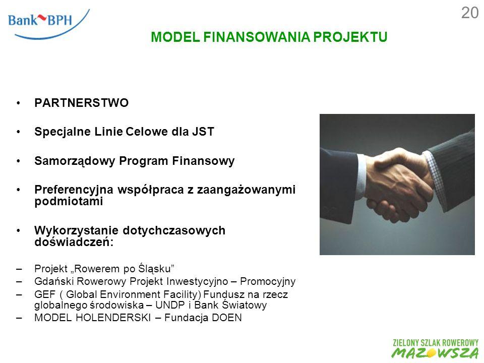 MODEL FINANSOWANIA PROJEKTU PARTNERSTWO Specjalne Linie Celowe dla JST Samorządowy Program Finansowy Preferencyjna współpraca z zaangażowanymi podmiotami Wykorzystanie dotychczasowych doświadczeń: –Projekt Rowerem po Śląsku –Gdański Rowerowy Projekt Inwestycyjno – Promocyjny –GEF ( Global Environment Facility) Fundusz na rzecz globalnego środowiska – UNDP i Bank Światowy –MODEL HOLENDERSKI – Fundacja DOEN 20